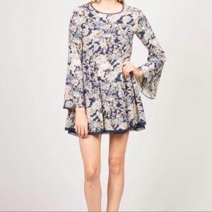 🖤PPLA NWT  Mini DRESS bell sleeve boho